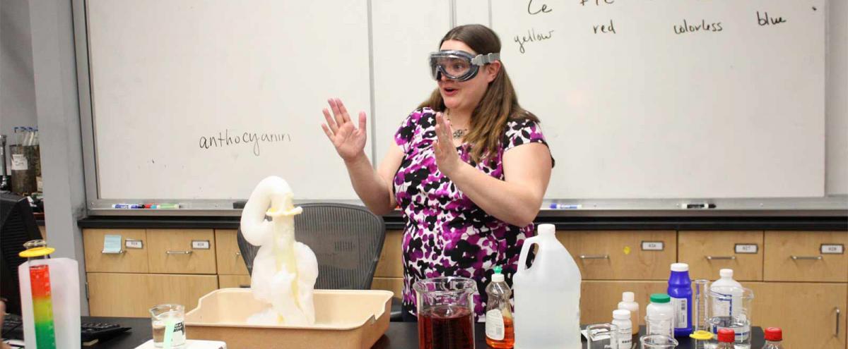 Student making a classroom presentation