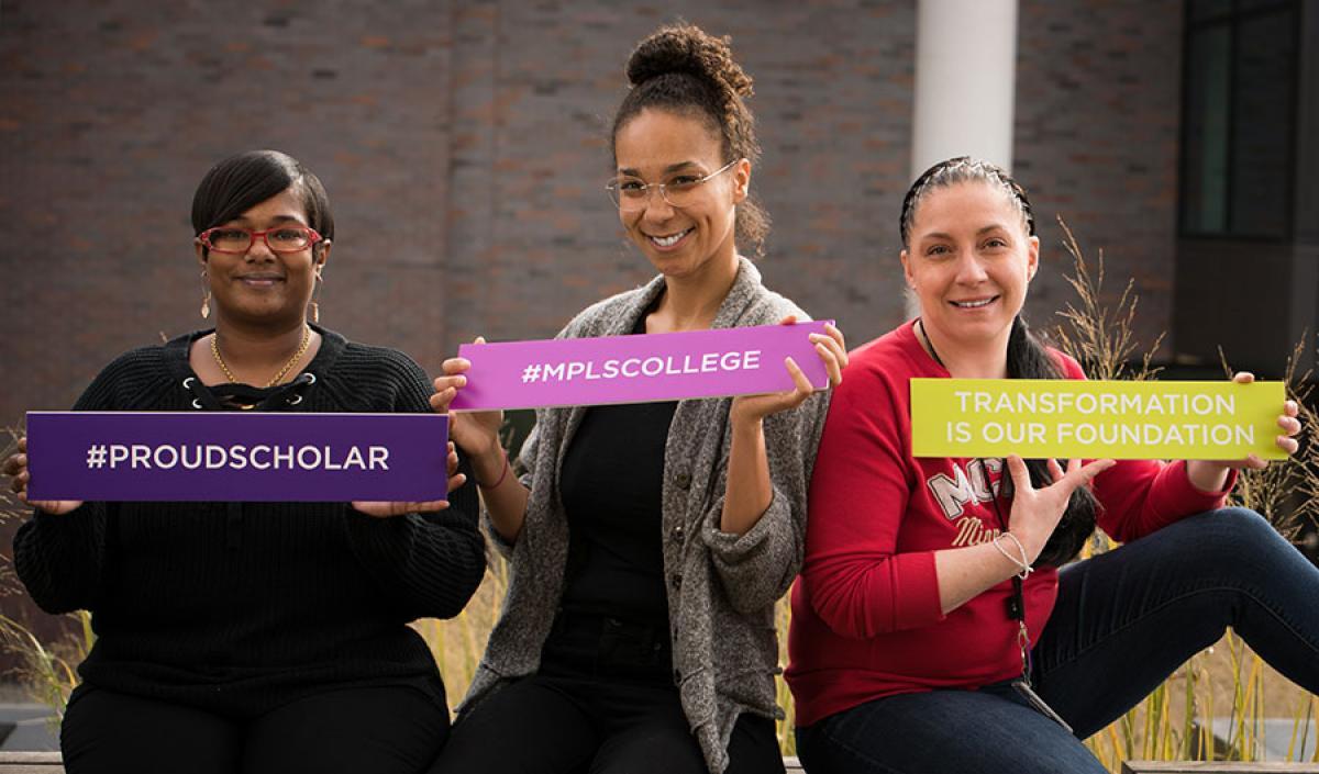 3 student scholars at Minneapolis College