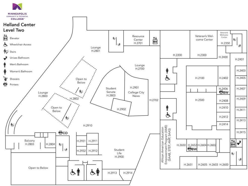 Floor Plan for Helland Center Level 2
