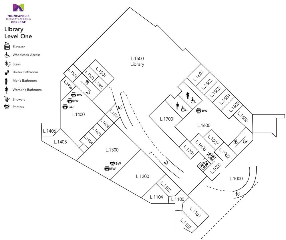 Whitney Hall (Library) Level One Floor Plan