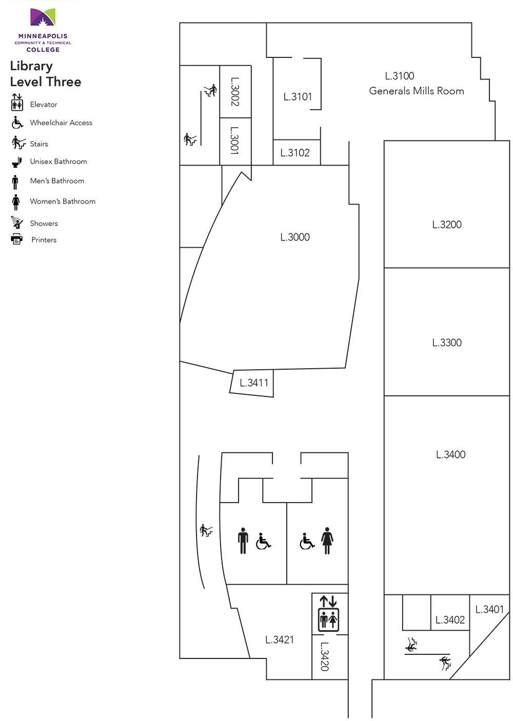 Whitney Hall (Library) Level Three Floor Plans